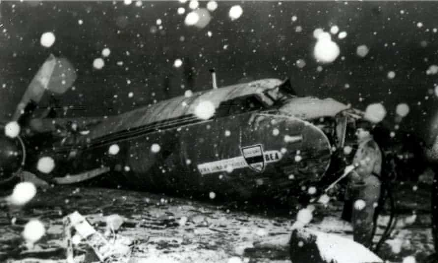 The wreckage of the British European Airways plane which crashed in Munich on February 6, 1958, while bringing home members of the Manchester United squad from a European Cup match.