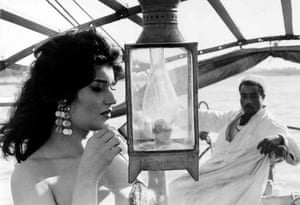 Egyptian belly dancer Najwa Fouad on a sailboat on the river Nile, 1972