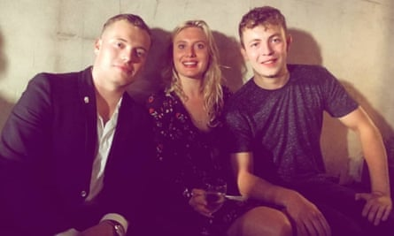 University freind Lewis Taylor, right, with Jack Merritt and Laura Suggitt.