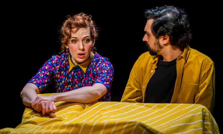 Katherine Parkinson (Viv) and Tom Kanji (Kenny)  in Shoe Lady at the Royal Court theatre, London
