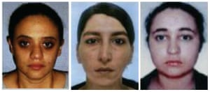 French police arrested Sarah Hervouët, left, Amel Sakaou and Inès Madani for allegedly being part of an Isis women-only cell in Paris.