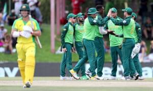 South Africa's Lungi Ngidi celebrates