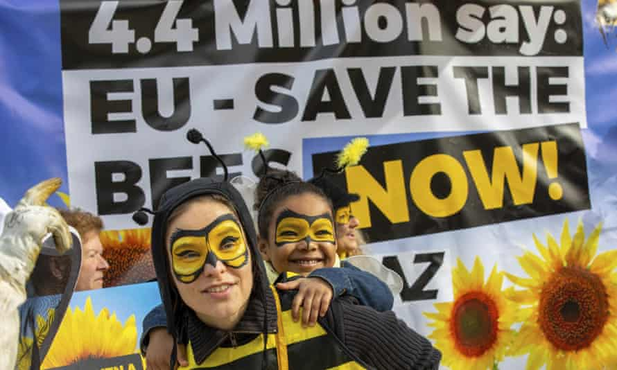 A protest against bee-killing pesticides in Brussels in April 2018.