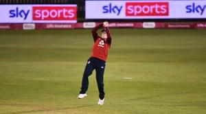 Heather Knight of England catches Hayley Matthews of West Indies.
