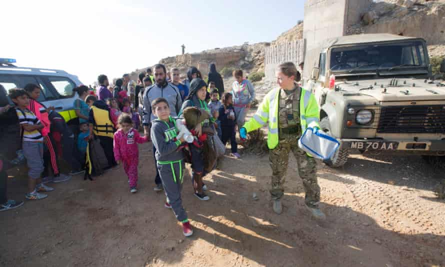 Refugees arriving at RAF Akrotiri