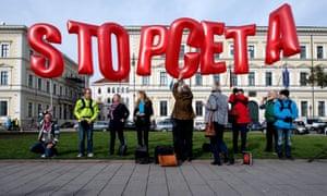 People protest in Munich against CETA