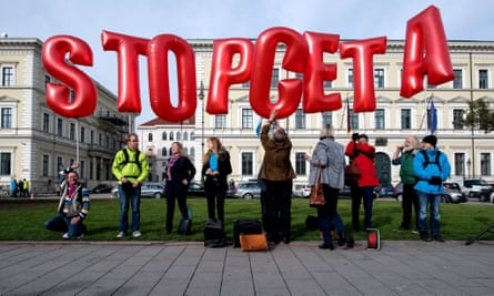 People protest in Munich against CETA