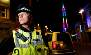 Inspector Tim Newton of Lancashire Police out in the town centre in Blackpool, Lancashire.
