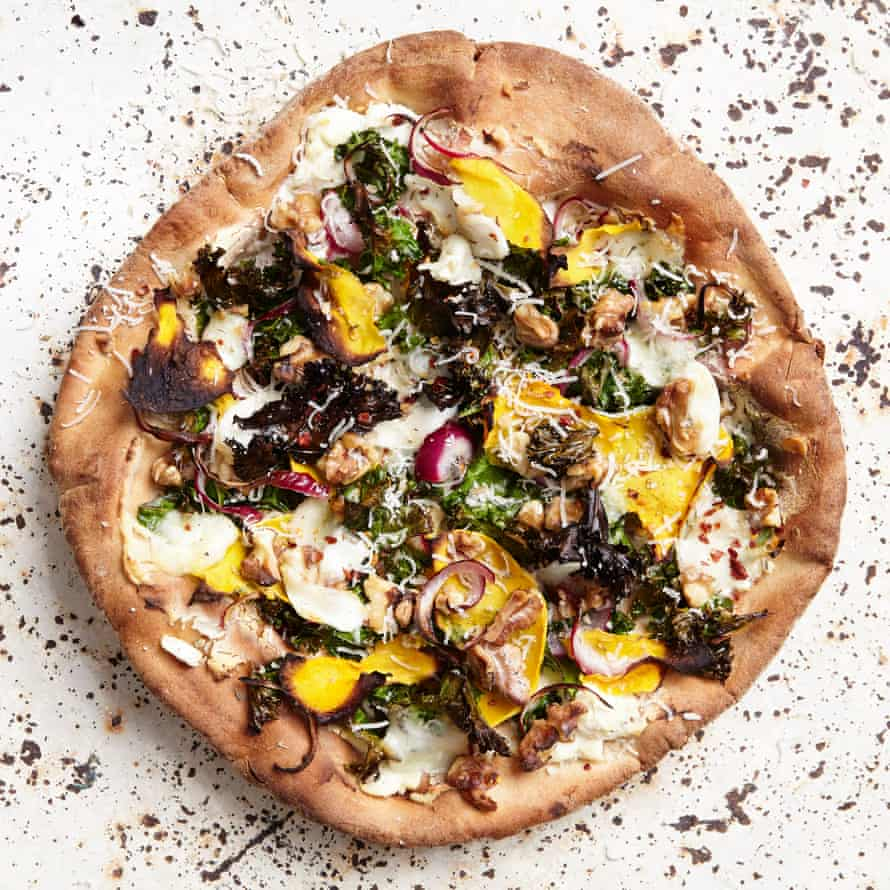 Susie Theodorou's butternut squash, kale, walnut white pizza.