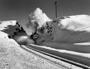 Southern Pacific engine, Donner Pass, California, 1949.