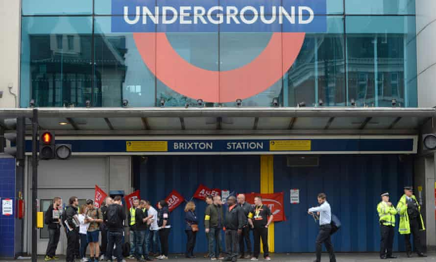 RMT members holding a picket outside Brixton Underground station, south London, in August.