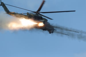 A Mil Mi-24P attack helicopter