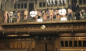 Demonstrators protest in the public gallery in the House of Commons