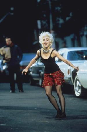 As Nikki Finn on the set of 1987's Who's That Girl.
