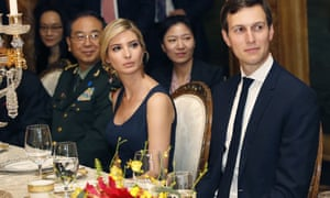 Ivanka Trump with her husband and White House senior adviser Jared Kushner, during a dinner with Donald Trump and Chinese president Xi Jinping.