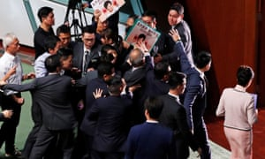 Hong Kong Chief Executive Carrie Lam leaves after her annual policy address was cancelled due to protests by pro-democracy lawmakers at the Legislative Council in Hong Kong.