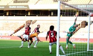 Raul Jimenez of Wolverhampton Wanderers scores the opening goal.