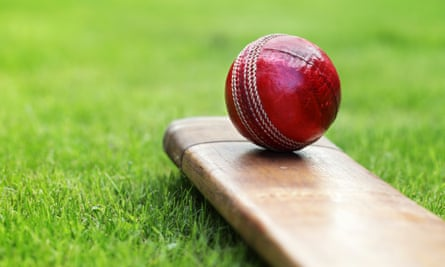 Close-up of red cricket ball and bat sitting on grassCricket ball resting on a cricket bat on green grass of cricket pitch