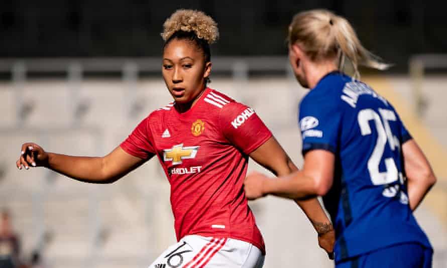 Lauren James in action for Manchester United against Chelsea in the Women's Super League last season.