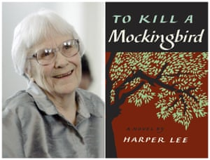 Harper Lee and a copy of To Kill a Mockingbird.