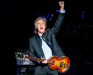 Sir Paul McCartney performs in in Tinley Park, Illinois, as part of his latest tour.