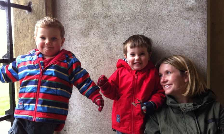 Kate Gross with her twin sons Isaac, left, and Oscar