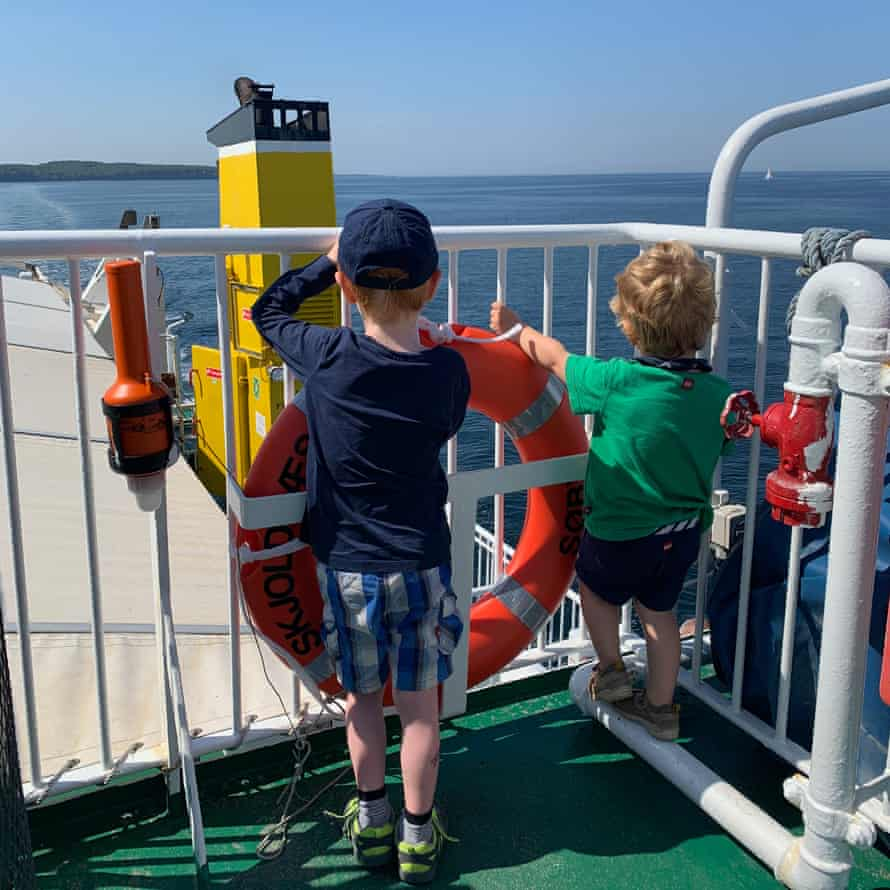 Two of Helen's children on the ferry that goes to Ærø.