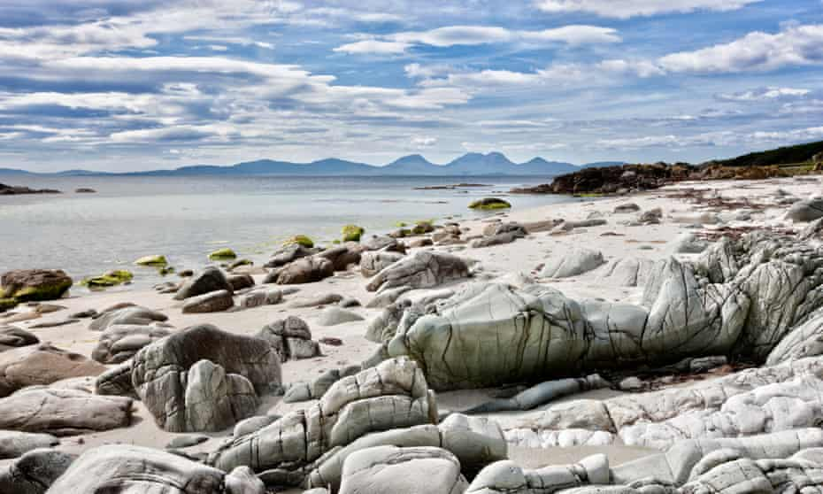 Looking across the Sound of Jura to the Isle of Jura from the Kintyre peninsula on the west coast of Scotland.
