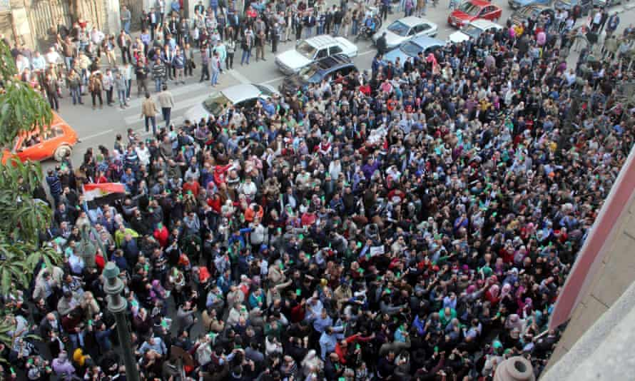 Doctors gather in Cairo to protest their treatment at the hands of Egypt's police.