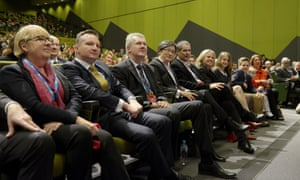 Labor front benchers during the 2015 ALP National Conference will be held at the Melbourne Convention Centre in Melbourne, Friday, July 24, 2015.