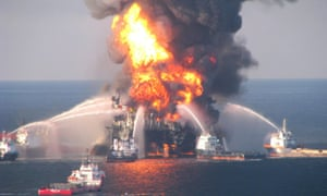 Fire boat response crews battle the blazing remnants of BP's offshore oil rig Deepwater Horizon, off Louisiana, on April 21, 2010.
