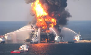 Fire boat response crews battle the blazing remnants of the offshore oil rig Deepwater Horizon off Louisiana on 21 April 2010.
