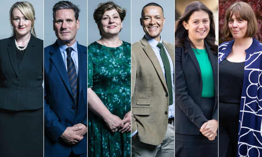 Rebecca Long Bailey, Keir Starmer, Emily Thornberry, Clive Lewis, Lisa Nandy, Jess Phillips.