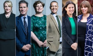 (Rebecca Long Bailey, Keir Starmer, Emily Thornberry, Clive Lewis, Lisa Nandy, Jess Phillips.