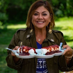 'Mama' Sailene Ossman, one of the getaway's co-founders serves edibles as part of the retreat