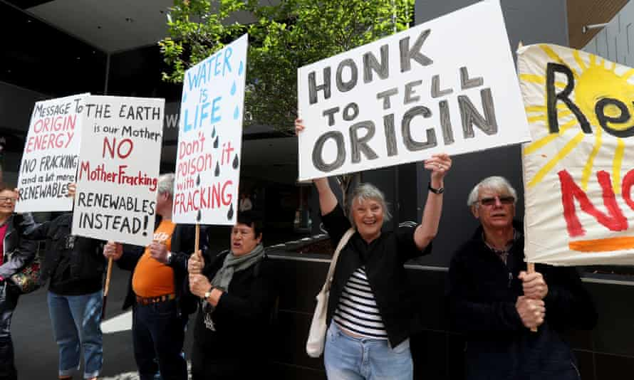 Anti-fracking protesters outside the Origin Energy office in Adelaide