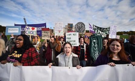 Pro-choice demonstrators in Belfast on Monday.