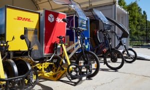 Cargo bikes in Germany, in use for light commercial deliveries, and replacing electric and fossil fuel vans alike.