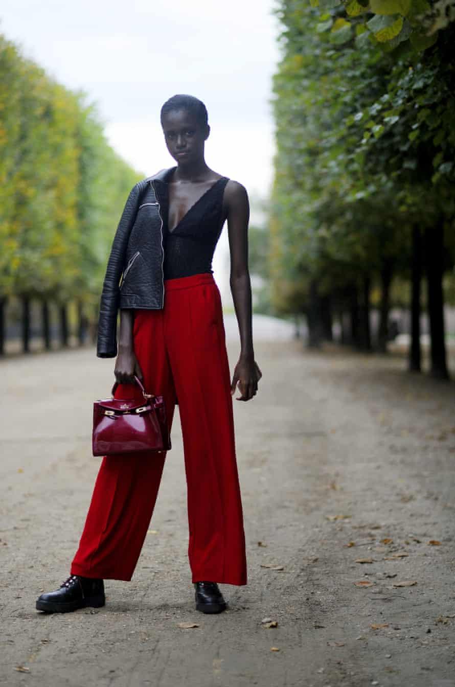Wide-legged trousers at Paris fashion week.