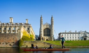 An idyllic punting scene near King's College Cambridge, but thousands in the city live in poverty.