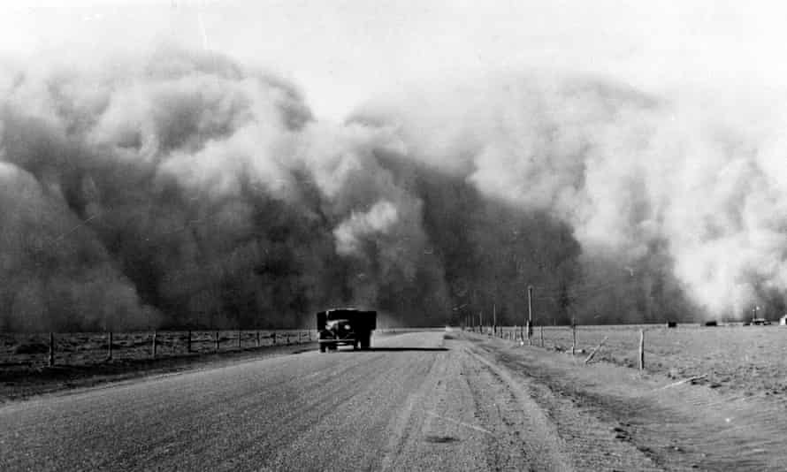 Dust clouds gather in 1930s Colorado during the Great Depression