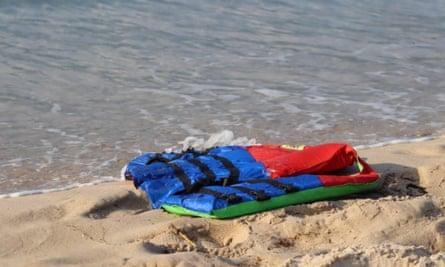 Lifejackets on the beach near the port of al-Khums, Libya.