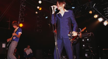 Singer Johnny Dean with Menswear at the Reading Festival, 1995