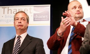Al Murray stands alongside Nigel Farage to hear the Thanet South result in the 2015 general election.