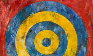 Detail from Target, 1961 (encaustic and collage on canvas).