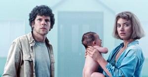 Jesse Eisenberg and Imogen Poots in a scene from XYZ's hit film Vivarium.