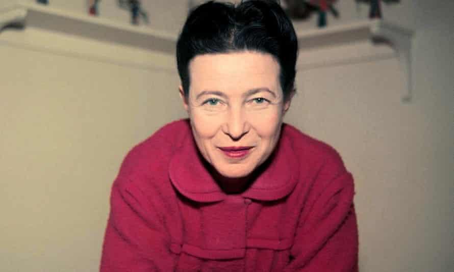 Simone de Beauvoir at home in 1957.