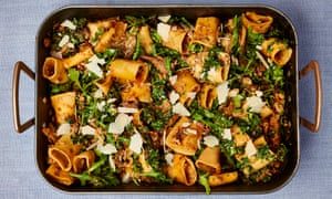 Yotam Ottolenghy's one-tray pork and mushroom pasta