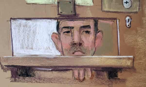 A court sketch of Timothy Hale-Cusanelli appears during a virtual hearing in a New Jersey court.