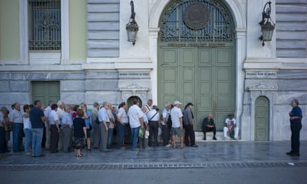 Customers outside the National Bank of Greece in Athens